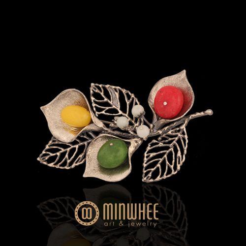 장옥정, 카라꽃 나뭇잎 머리꽂이1 - 고품격 수공예 주얼리 민휘아트주얼리 MINWHEE ART JEWELRY