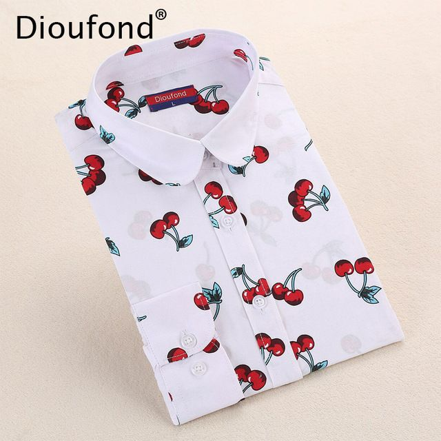 Price-6$        Dioufond New Floral Long Sleeve Vintage Blouse Cherry Turn Down Collar Shirt Blusas Feminino Ladies Blouses Womens  Tops Fashion
