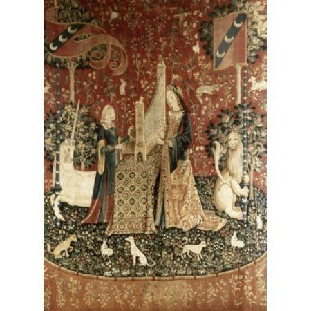 Lady & the Unicorn - Sense of Hearing 15th Century Tapestry (Flemish) Musee National du Moyen Age Thermes & Hotel de Cluny Paris France Canvas Art - (18 x 24)