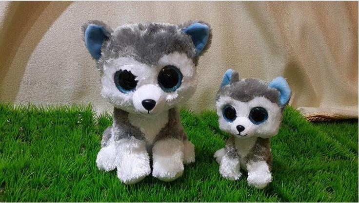 Hot Sale18CM Ty Beanie Boos Big Eyes Husky Dog Plush Toy Doll Stuffed Animal Cute Plush Toy Kids Toy 1pcs