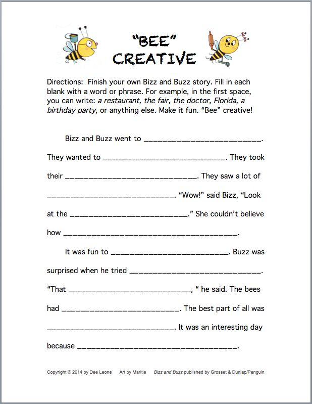 Free fillintheblank activity sheet for creating a story