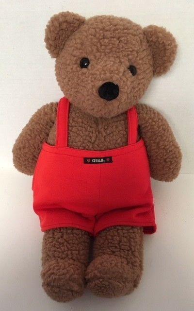 """*Large* 1986 Gund GEAR BEAR Rattle 21"""" Plush Red Overalls Brown Nubby Vintage #Gund"""
