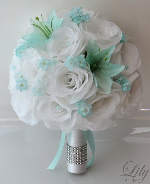 """17 Piece Package Wedding Bridal Bride Maid Of Honor Bridesmaid Bouquet Boutonniere Corsage Silk Flower TIFFANY BLUE WHITE """"Lily of Angeles"""""""