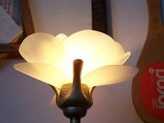 "DIY cut plastic from milk jugs ""flower"" shade for floor lamp/torchiere (use low watt bulb/led)"