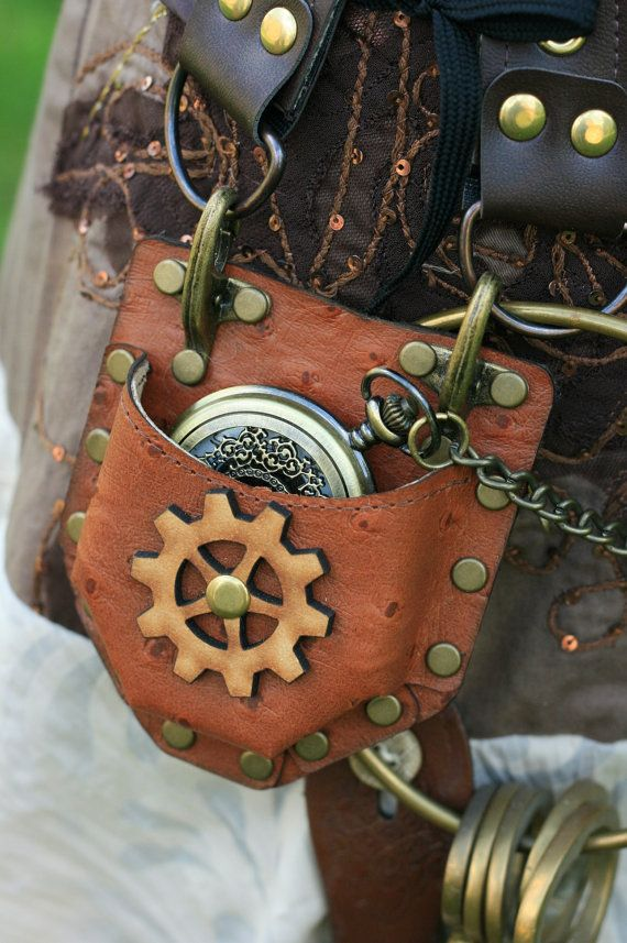 Steampunk Real Brown Leather Watch fob  / compass Corset Pocket  Holster  cogs