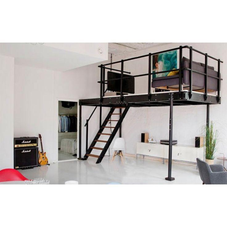 Mezzanine With M Straight Stairs