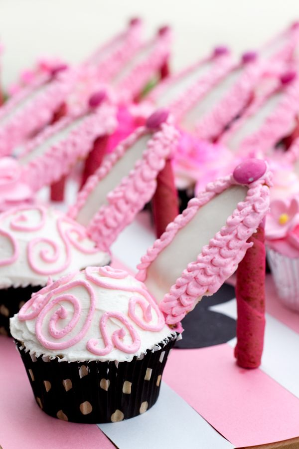 Stiletto / High-heel cupcakes with spray-painted heels!  Made for a black/white/pink Paris themed bridal party<3