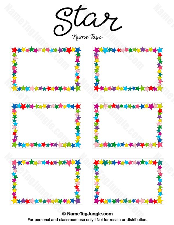 Free printable star name tags. The template can also be used for creating items like labels and place cards. Download the PDF at http://nametagjungle.com/name-tag/star/