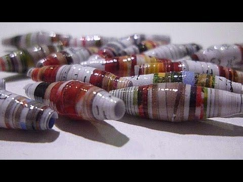 How to make beads from string or yarn, jewelry making, beading, recycling, bead making - YouTube