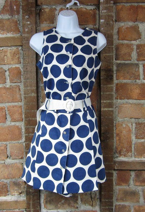 1960s Skort Short Dress. Mod Polka dot Party 60s by MISSIONMOD, $99.00