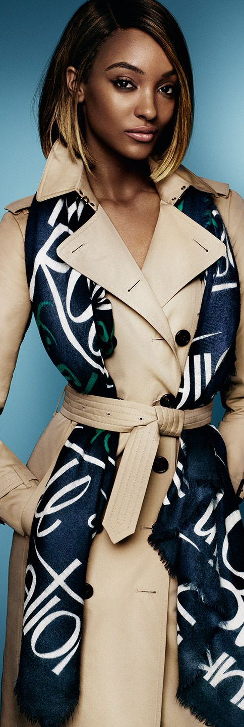 Jourdan Dunn stars in the Burberry S/S15 campaign, wearing a scarf in typographic print