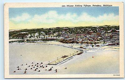 Ice Fishing Winter Fishing Village Petoskey Michigan MI Vintage Postcard B10