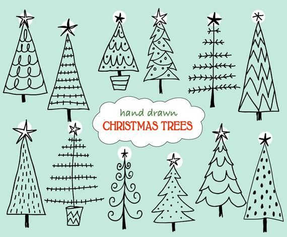 Doodle Christmas Trees Digital Clipart Photoshop Cs4 Layered Files Brushes Stamps Instant Download Personal Limited Commercial Use Clip Art Tree Doodle Christmas Tree Clipart