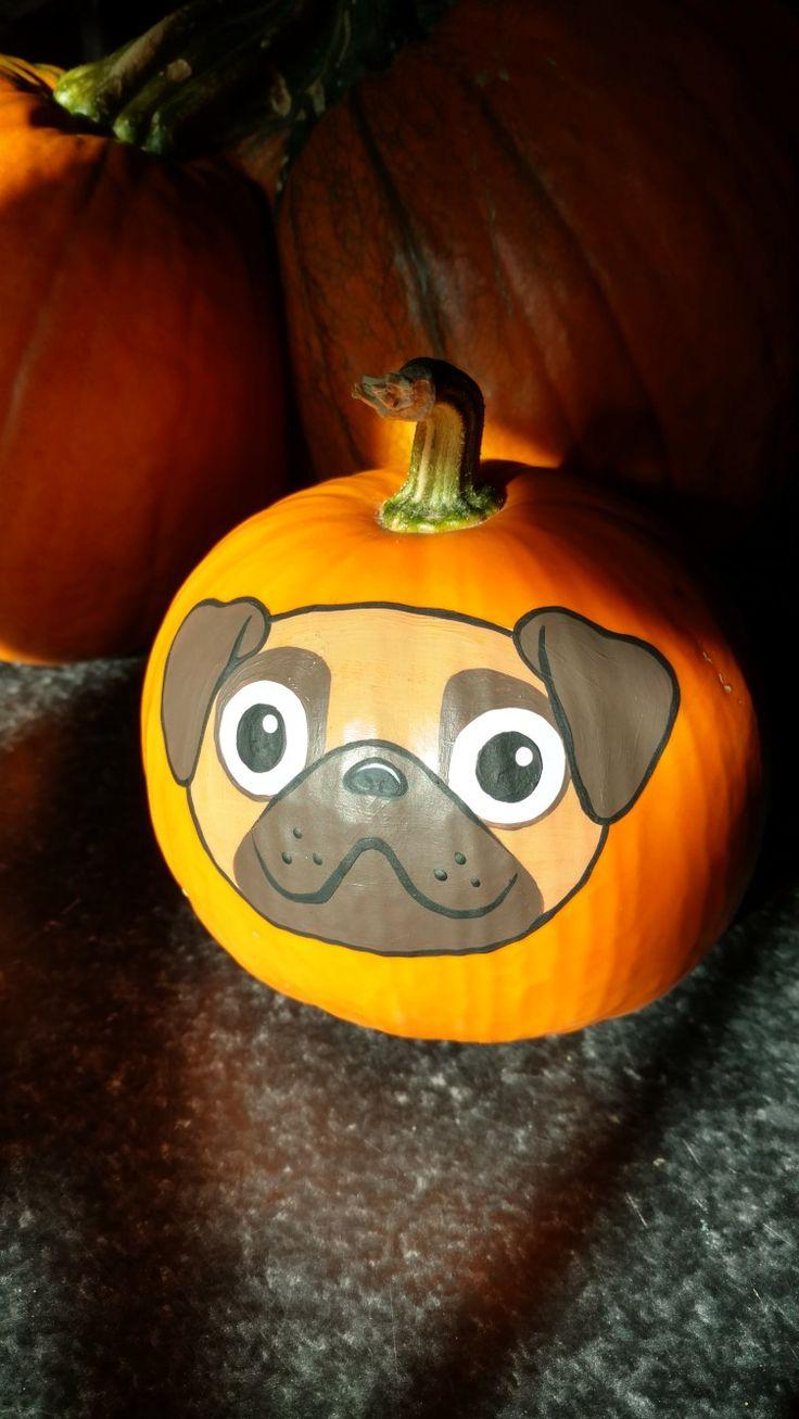 Pug Dog Pumpkin Painted By Brandi Johner Pumpkin Paint