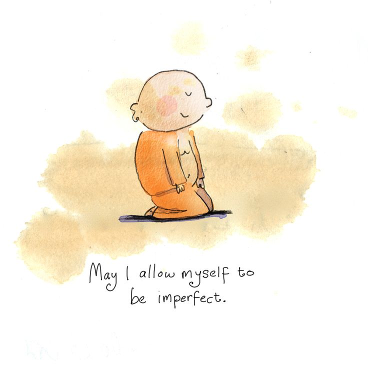 """""""Puissais-je me permette d'être imparfait"""" Today's Buddha Doodle: it's okay ~ May I allow myself to be imperfect."""