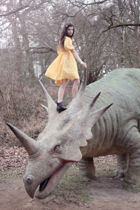 All fashion photos should include at least one dinosaur...
