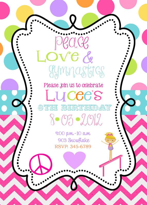 Peace Love Gymnastics Birthday Party invitations by noteablechic - bday invitations templates