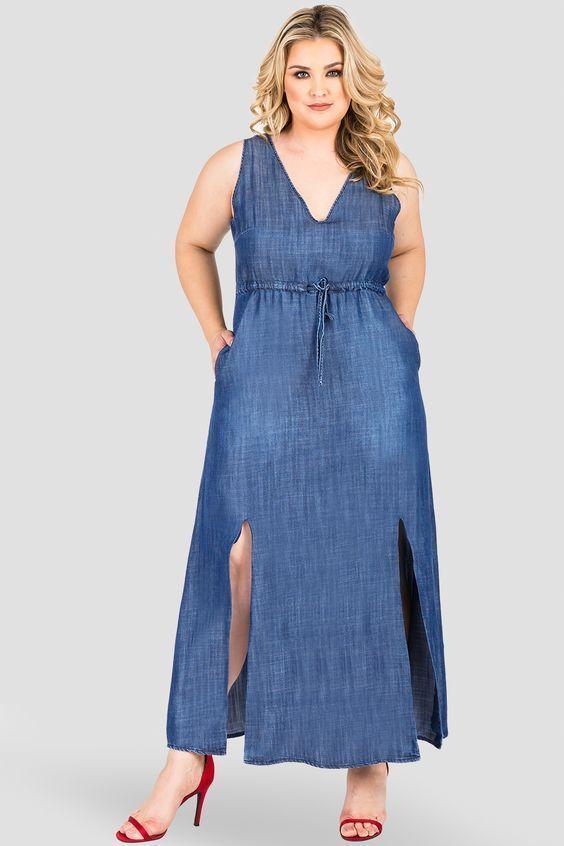 07b4b484994 Women s Plus Size Drawstring Waist Sleeveless Denim Maxi Dress - An elegant  sleeveless tencel denim maxi