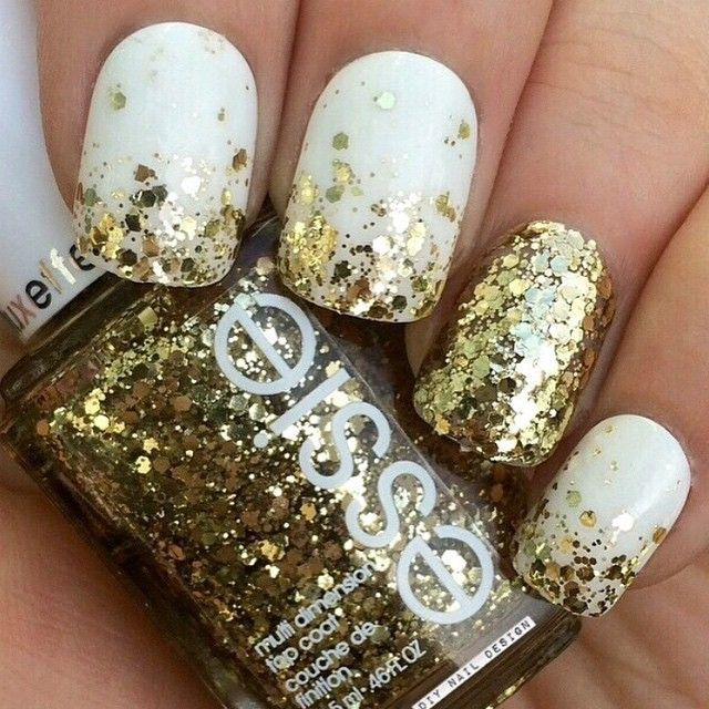 Essie Rock At The Top Gold Glitter Over Blanc Nail Polish
