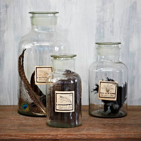 Glass Jar with Feathers