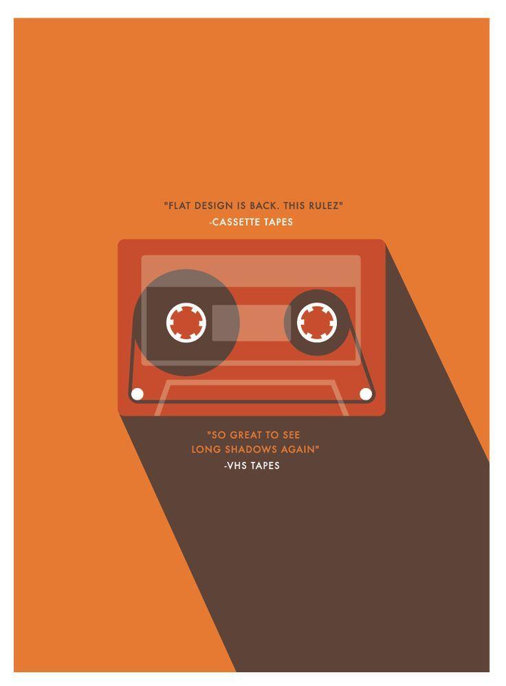 Flat Cassette Tape Design  #flat #poster #branding