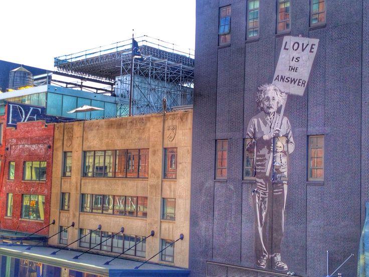 #Love is the answer. - #alberteinstein #streetart #graffiti #highline #NYC