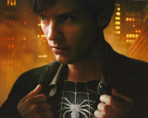 Spider-man Spiderman 3 Tobey Maguire opening Shirt to show Black suit 8x10 Photo Horizontal @ niftywarehouse.com #NiftyWarehouse #Spiderman #Marvel #ComicBooks #TheAvengers #Avengers #Comics