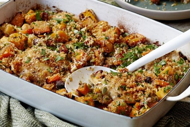 Baked chicken with pumpkin and chorizo main image