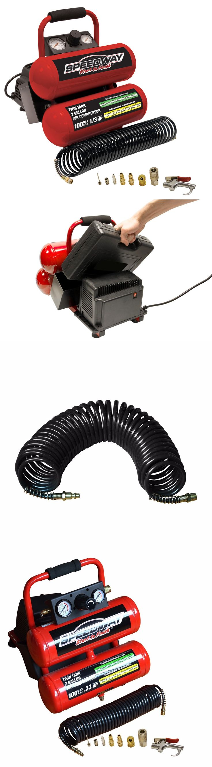 Air Compressors 30506: Speedway 2 Gallon Twin Stack Portable 1 2 Hp Air Compressor And Accessories 8465 -> BUY IT NOW ONLY: $79.99 on eBay!