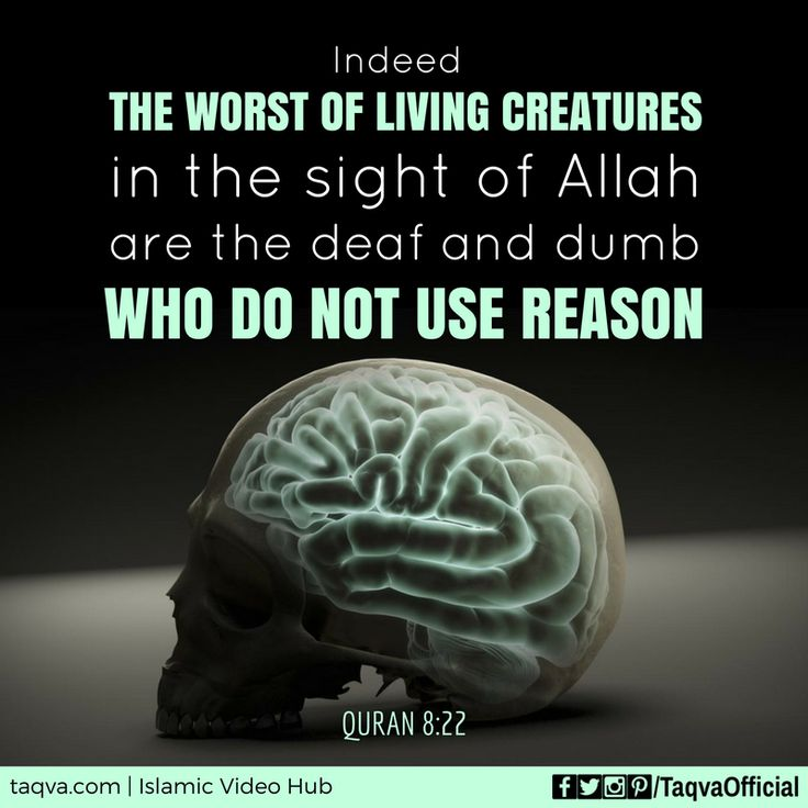 """Indeed, the #worst of living creatures in the sight of #Allah are the deaf and dumb who do not use reason."" #Quran 8:22 #islam #islamic #reminder #quranic #quotes #quote #quoteoftheday #ayah #ayahoftheday #intellect #intelligence #understand #reasoning #science #truth #fact #research #blind #dumb #mankind #taqva"