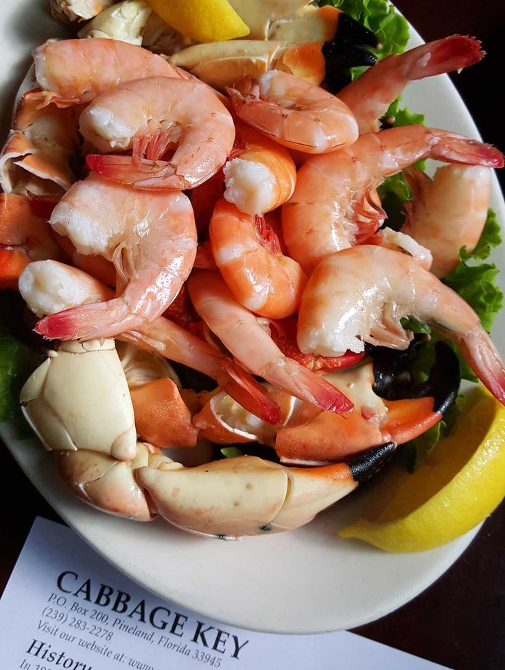 Stone crab and Florida Pink Shrimp at The Cabbage Key Inn and Restaurant