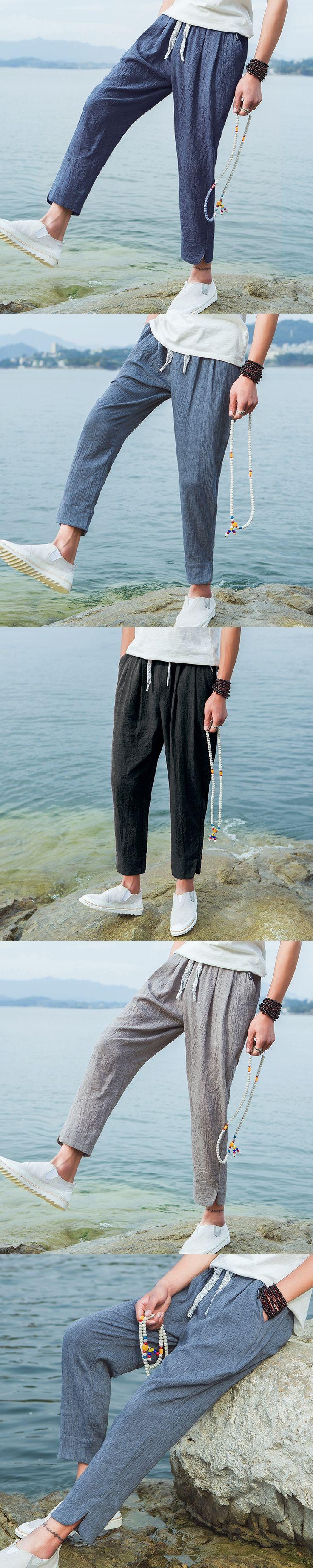 2017 Summer Men's Casual Cargo Pants Elastic Waist Solid Straight Fale Cotton Linen Trousers Leisure Beach Pants Plus Size 5XL