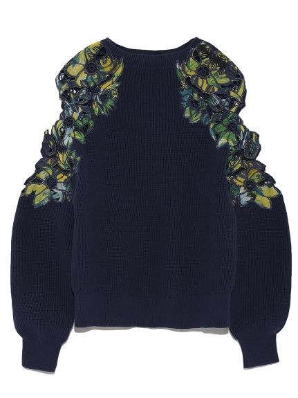 open shoulder sweater with re-embroidery