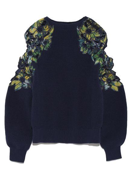 エンブロイダリー肩開きニット(ニット) FRAY I.D(フレイアイディー) ファッション通販 ウサギオンライン公式通販サイト