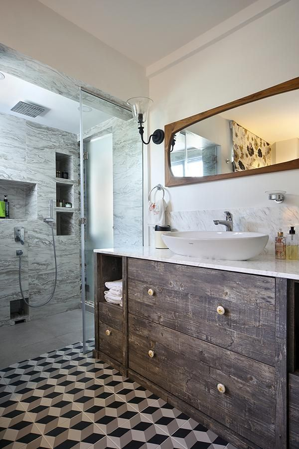 Eclectic interior design with bold patterned tiles in for Small bathroom ideas hdb