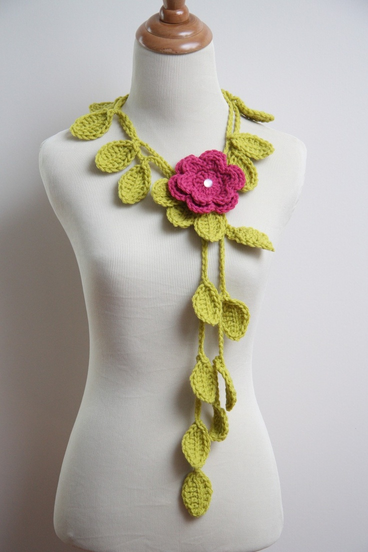 Crocheted Grass Green Leaf Necklace with Pink by HandmadeByLarrie, $14.99: Crochet Necklaces, Pink Flowers, Idea, Crochet Leaves, Green Leaves, Limes Green, Crochet Patterns, Leaf Necklaces, Crochet Jewelry Patterns