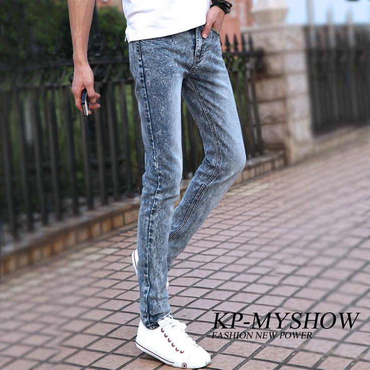 Джинсы оптовая продажа и бесплатная доставка ~~ % 2013 осень голубой носить белые штаны мужские тонкие узкие брюки карандаш мужчины