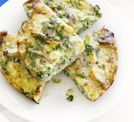 Potato, spring onion, dill & cheese frittata - cooked new potatoes ...