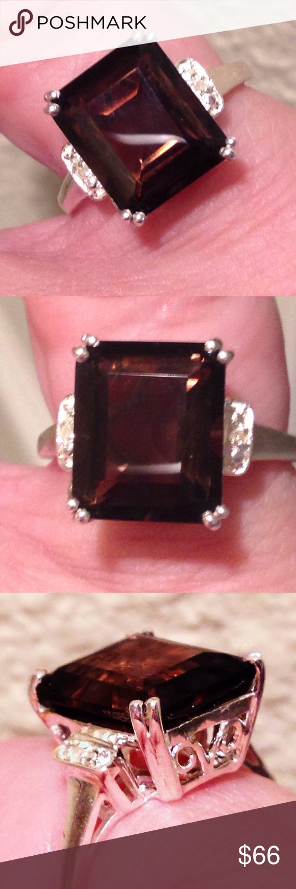 🔥Nwt! Genuine 6ct  Smoky Quartz + Diamond  Ring 🔥 Size 6.5 - Brand New! TAG ON! MSRP:$219.99 !!! Genuine BRAZILiAN SMOKY QUARTZ (6.00 carat (fancy faceted Octagon ) + 2 Genuine White DiAMOND .925 Sterling Silver Ring with ornate basket setting . ✔️🎁earns a FREE BRAND NEW Mystery thank you  GIFT! 🎁✔️top rated trusted seller✔️ships quick✔️comes in a new jewelry gift box ✔️listed deeply discounted off the $219.99 MSRP! Further 10% discount by bundling only manufacturer (usa) Jewelry Rings