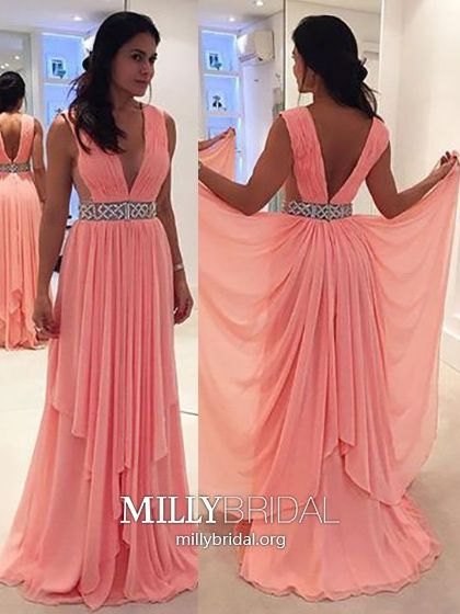 86b225a1eb4 Watermelon Prom Dresses Long,A-line Formal Evening Dresses Open Back,Sexy  Military Ball Dresses V-neck,Chiffon Pageant Graduation Party Dresses  Beading ...