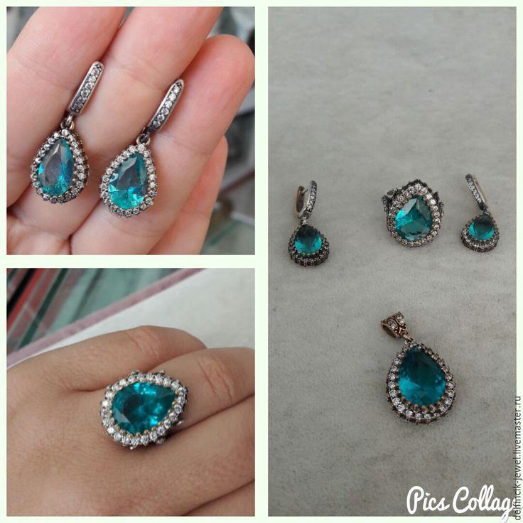 Купить Комплект Хюррем из серебра в османском стиле с апатитом - морская волна, купить кольцо