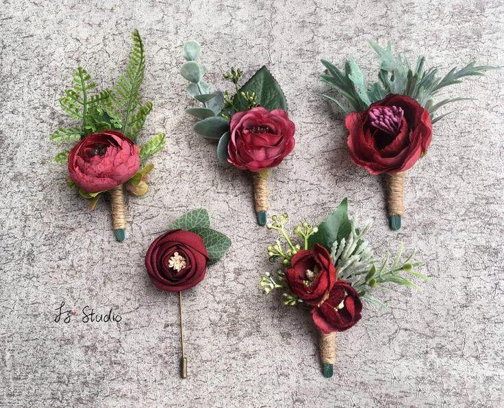 Burgundy Greenery Boutonniere Dark Red Boutineer Fall Wedding Rustic Corsage Silk Buttonholes Faux Fake Rose Camellia Fern Eucalyptus Lapel