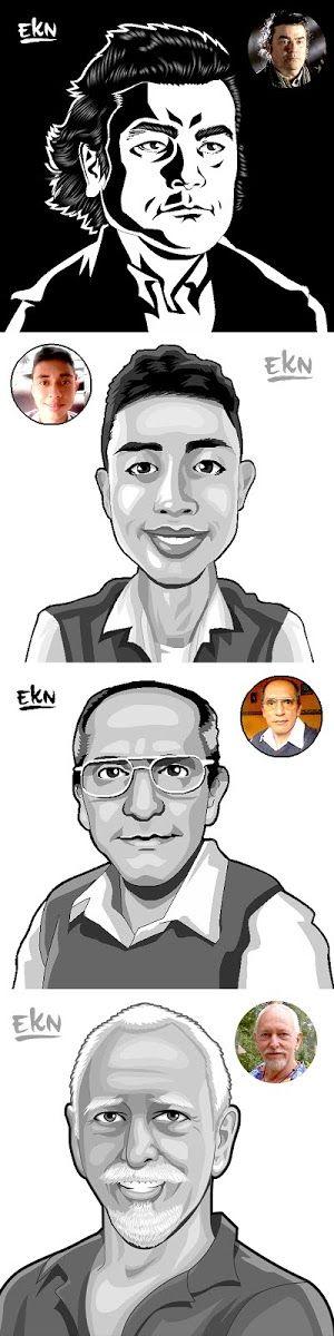 CARICATURAS Entintadode 4  Caricaturas (Fotos de Perfil) porEKN       Artista:   EKN  Mangaka (Elkin Grueso)      Proyecto:   CARICAT...