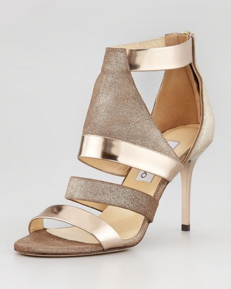 Jimmy Choo ~ Berlin Metallic Sandal we ❤ this! moncheribridals.com #weddingshoes #bridalshoes