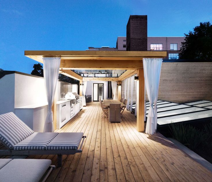 beautiful modern deck design with curtains