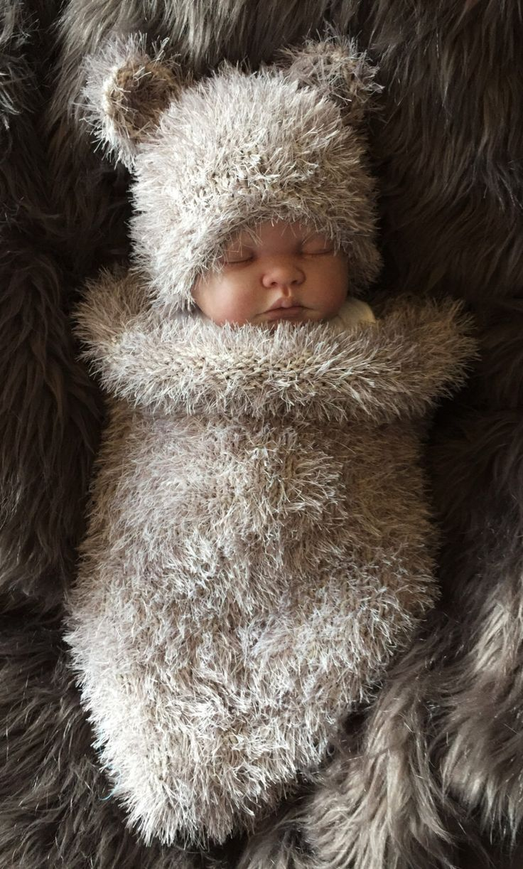 Hand Knitted Baby Cocoon Sleeping Bag Papoose & Teddy Bear Hat Photo Photography Prop 3-6m Boy / Girl / Unisex by FunkyKnitsUK on Etsy https://www.etsy.com/listing/288910813/hand-knitted-baby-cocoon-sleeping-bag