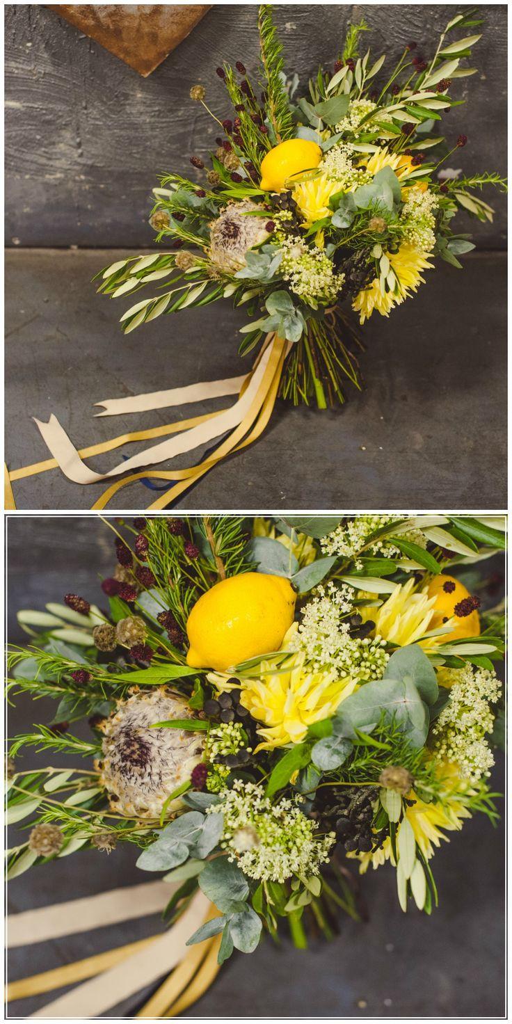 СЮРПРИЗ НА ДЕНЬ РОЖДЕНИЯ: СТИЛЬНАЯ ЛИМОННАЯ ВЕЧЕРИНКА. Lemon yellow wedding bouquet with protea  #lemon #yellow #bouquet #marryua