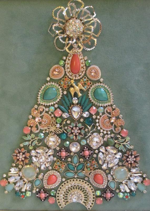 Jeweled Framed Jewelry Art Christmas Tree Art Deco Pastel Etsy Old Jewelry Crafts Jewelry Christmas Tree Vintage Jewelry Ideas