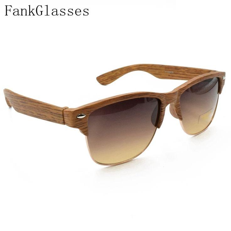 31.76$  Watch here - http://ai4fv.worlditems.win/all/product.php?id=32650793584 - FankGlasses 2016 Plastic Wood Grain Designer Sunglass Women Half Frame Sunglasses Men Brand Vintage Sun Glasses oculos de sol