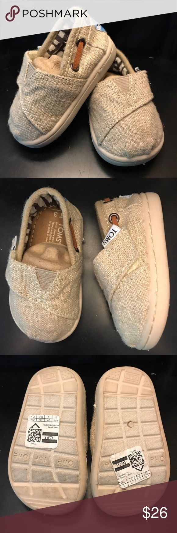 Bimini Natural Burlap Tiny TOMS These Bimini Natural Burlap TOMS are perfect for your little girl or boy!! Only worn once. Toms Shoes Sneakers